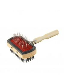 Двусторонняя щетка-расческа с деревянной ручкой 10 Х 17 см