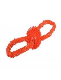 Игрушка YUGI для собак мяч с шипами на резинке красный 3,5*33 см