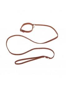 Комплект кожаный ошейник 33 х 1,2 см и поводок 135 х 0,8 см