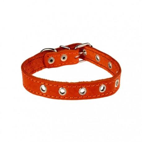 Ошейник кожаный однослойный безразмерный 45 х 2 см оранжевый
