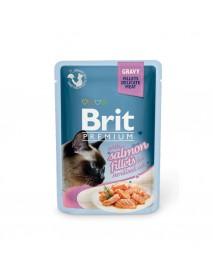 Влажный корм Brit Premium Кусочки из филе лосося в соусе для стерилизованных кошек