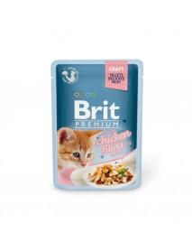 Влажный корм Brit Premium Кусочки из куриного филе в соусе для котят