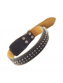 Ошейник кожаный двойной с украшением Ёж 36 мм*670 мм
