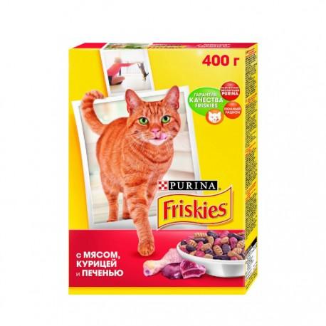 Сухой корм Friskies для взрослых кошек с мясом курицей и печенью