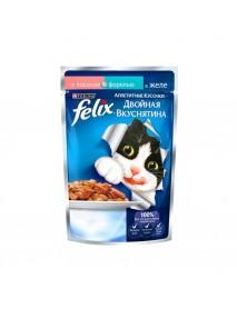 Влажный корм Purina Felix Аппетитные кусочки Двойная вкуснятина лосось и форель