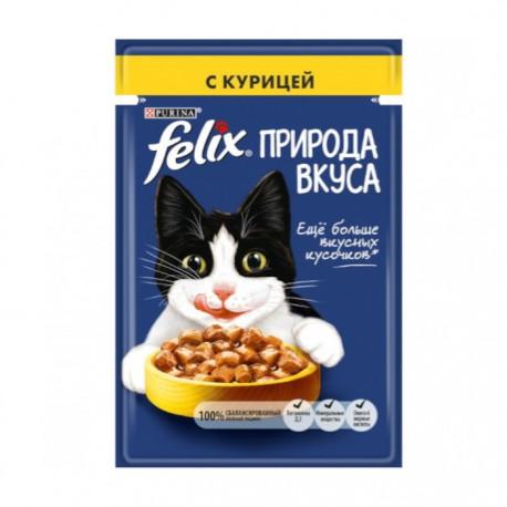 Влажный корм Purina Felix Природа вкуса для взрослых кошек с курицей