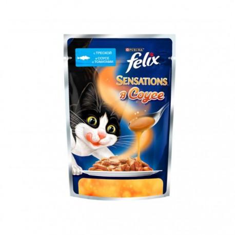 Влажный корм Purina Felix Sensations в Удивительном соусе треска с томатами
